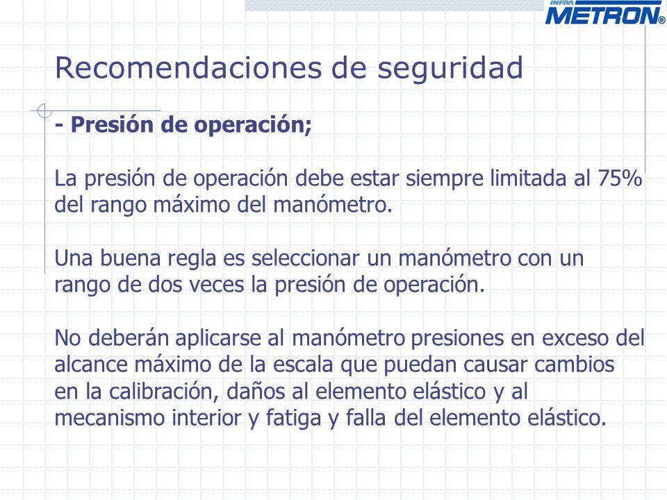 Recomendaciones de seguridad - Presión de operación; La presión de operación debe estar siempre limitada al 75% del rango máximo del manómetro. Una bu