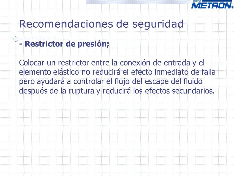 Recomendaciones de seguridad - Restrictor de presión; Colocar un restrictor entre la conexión de entrada y el elemento elástico no reducirá el efecto