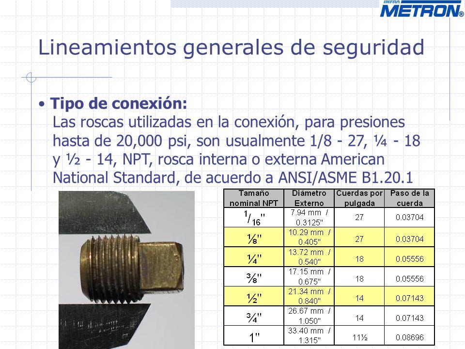 Lineamientos generales de seguridad Tipo de conexión: Las roscas utilizadas en la conexión, para presiones hasta de 20,000 psi, son usualmente 1/8 - 2