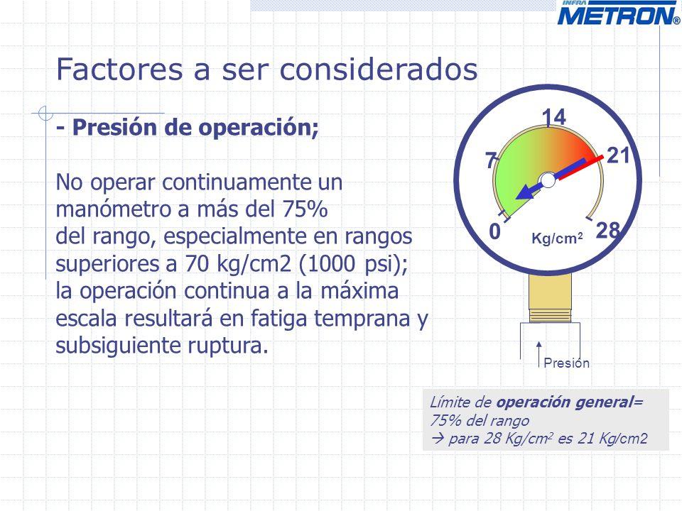 Factores a ser considerados - Presión de operación; No operar continuamente un manómetro a más del 75% del rango, especialmente en rangos superiores a