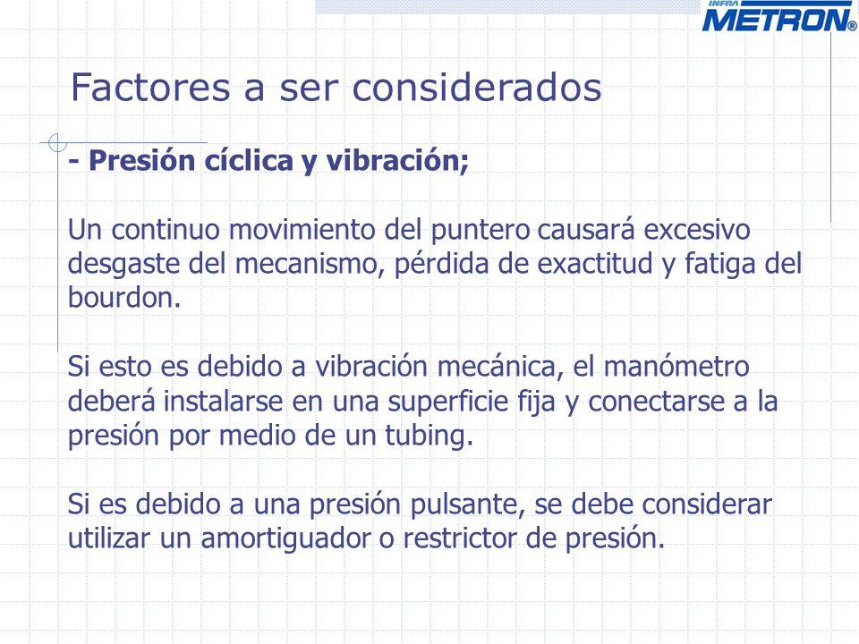 Factores a ser considerados - Presión cíclica y vibración; Un continuo movimiento del puntero causará excesivo desgaste del mecanismo, pérdida de exac