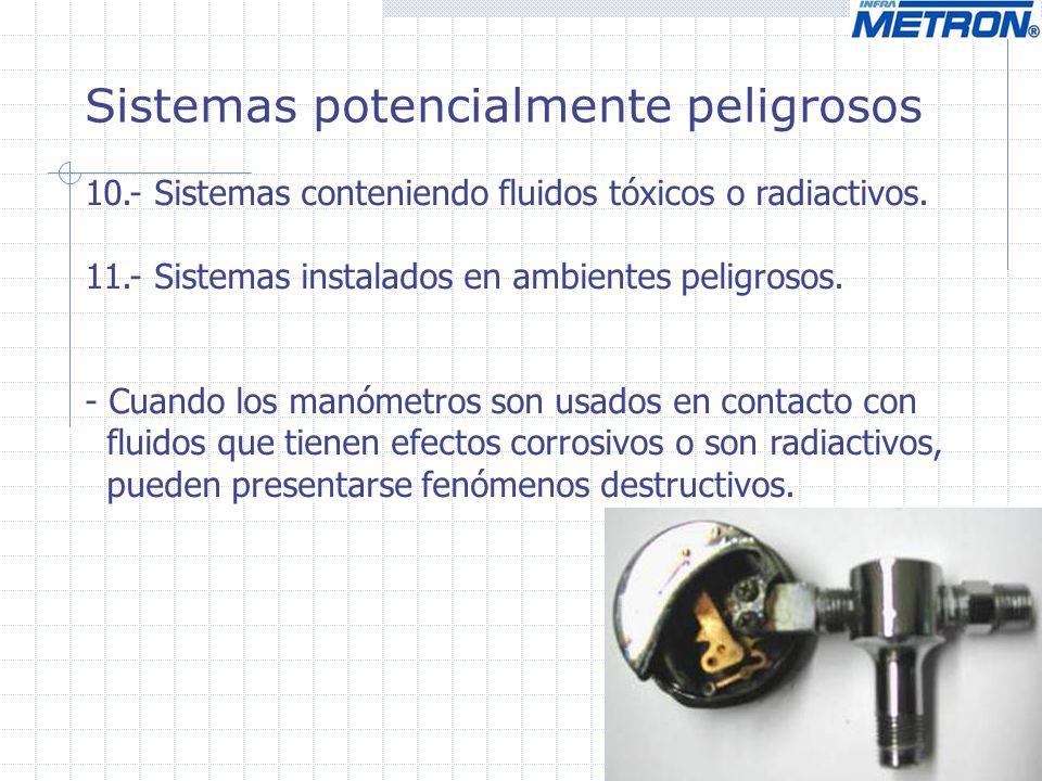 Sistemas potencialmente peligrosos - Fuego o explosiones en un sistema de presión pueden causar falla del elemento elástico con efectos muy violentos, aún al punto de desintegrar o fundir el manómetro.