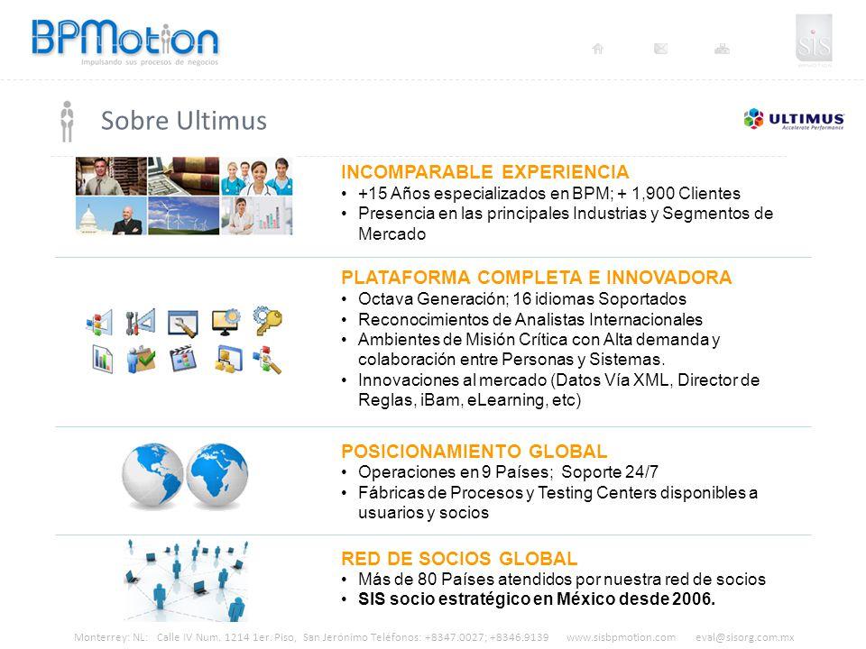 Monterrey: NL: Calle IV Num. 1214 1er. Piso, San Jerónimo Teléfonos: +8347.0027; +8346.9139 www.sisbpmotion.com eval@sisorg.com.mx Sobre Ultimus INCOM