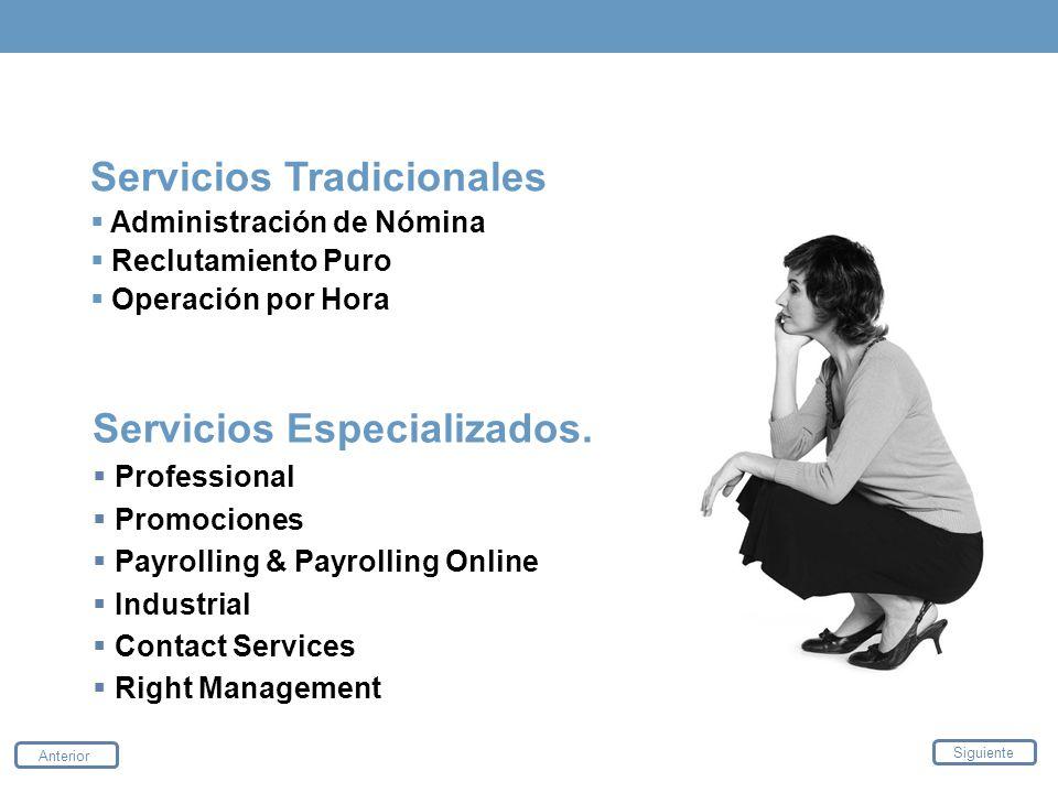 Servicios Tradicionales Administración de Nómina Reclutamiento Puro Operación por Hora Servicios Especializados. Professional Promociones Payrolling &