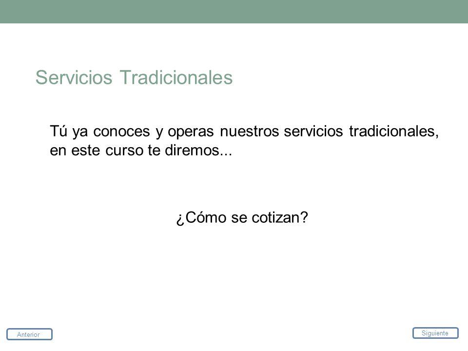 Servicios Tradicionales Tú ya conoces y operas nuestros servicios tradicionales, en este curso te diremos... ¿Cómo se cotizan? Anterior Siguiente