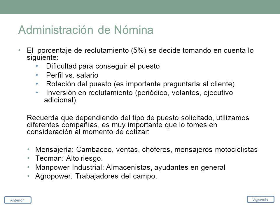 Administración de Nómina El porcentaje de reclutamiento (5%) se decide tomando en cuenta lo siguiente: Dificultad para conseguir el puesto Perfil vs.