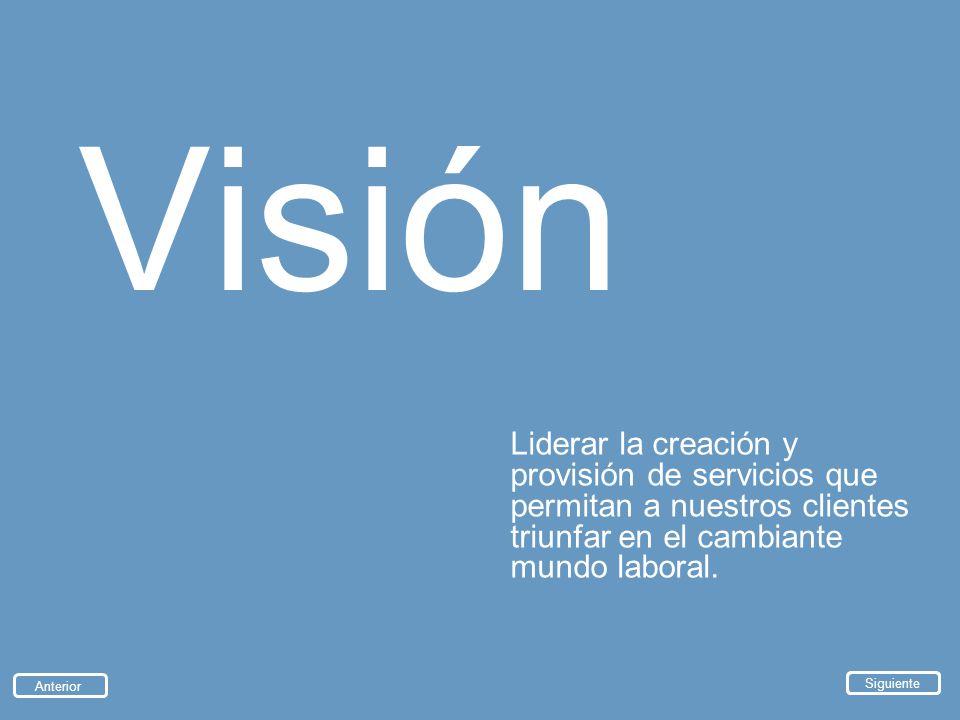 Visión Liderar la creación y provisión de servicios que permitan a nuestros clientes triunfar en el cambiante mundo laboral. Anterior Siguiente