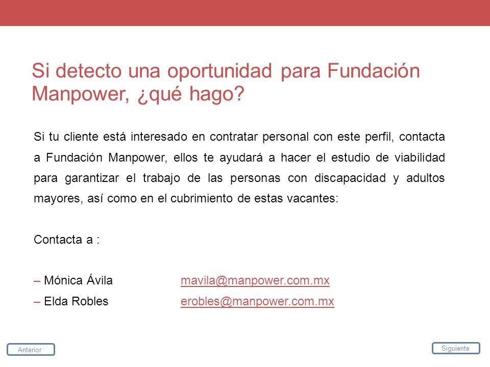 Si detecto una oportunidad para Fundación Manpower, ¿qué hago? Si tu cliente está interesado en contratar personal con este perfil, contacta a Fundaci