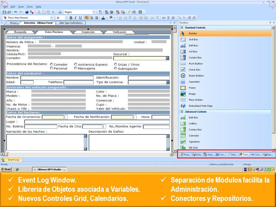 Event Log Window.Librería de Objetos asociada a Variables.