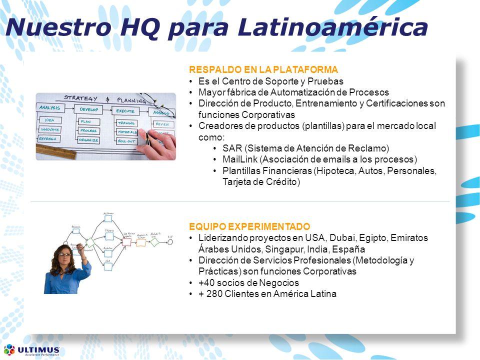 Nuestro HQ para Latinoamérica RESPALDO EN LA PLATAFORMA Es el Centro de Soporte y Pruebas Mayor fábrica de Automatización de Procesos Dirección de Producto, Entrenamiento y Certificaciones son funciones Corporativas Creadores de productos (plantillas) para el mercado local como: SAR (Sistema de Atención de Reclamo) MailLink (Asociación de emails a los procesos) Plantillas Financieras (Hipoteca, Autos, Personales, Tarjeta de Crédito) EQUIPO EXPERIMENTADO Liderizando proyectos en USA, Dubai, Egipto, Emiratos Árabes Unidos, Singapur, India, España Dirección de Servicios Profesionales (Metodología y Prácticas) son funciones Corporativas +40 socios de Negocios + 280 Clientes en América Latina