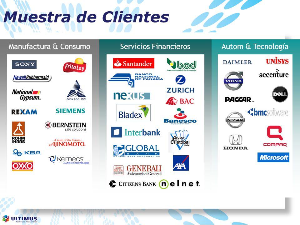 Autom & TecnologíaServicios FinancierosManufactura & Consumo Muestra de Clientes