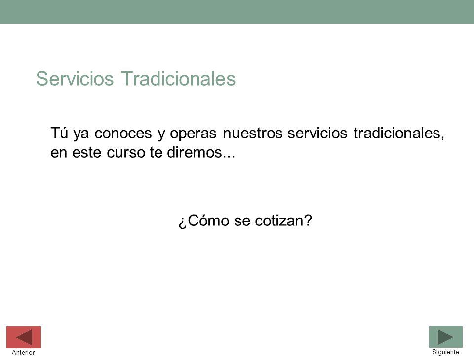 Servicios Tradicionales Tú ya conoces y operas nuestros servicios tradicionales, en este curso te diremos... ¿Cómo se cotizan? Siguiente Anterior
