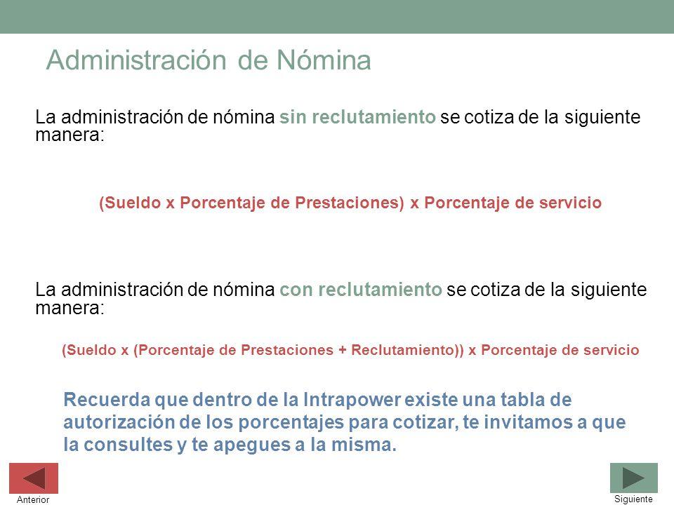 Administración de Nómina La administración de nómina sin reclutamiento se cotiza de la siguiente manera: (Sueldo x Porcentaje de Prestaciones) x Porce