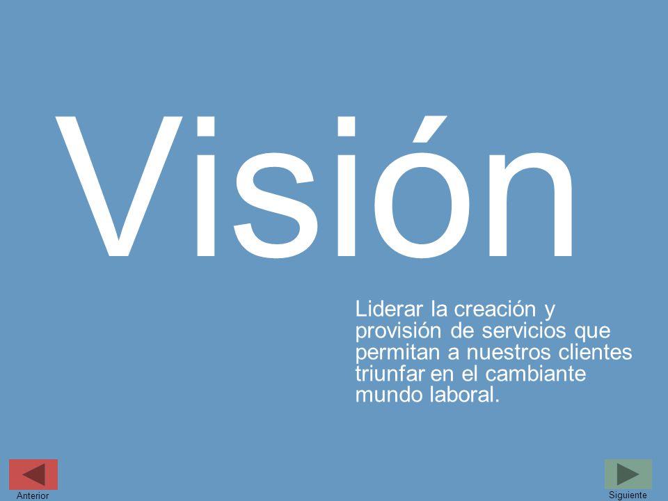 Visión Liderar la creación y provisión de servicios que permitan a nuestros clientes triunfar en el cambiante mundo laboral. Siguiente Anterior