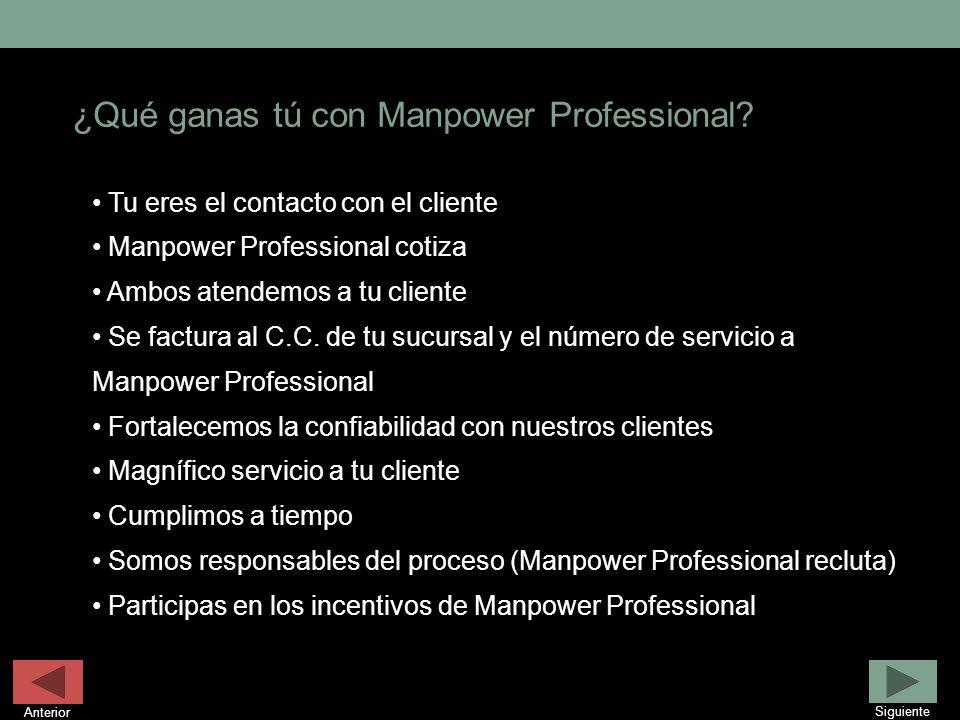 ¿Qué ganas tú con Manpower Professional? Tu eres el contacto con el cliente Manpower Professional cotiza Ambos atendemos a tu cliente Se factura al C.
