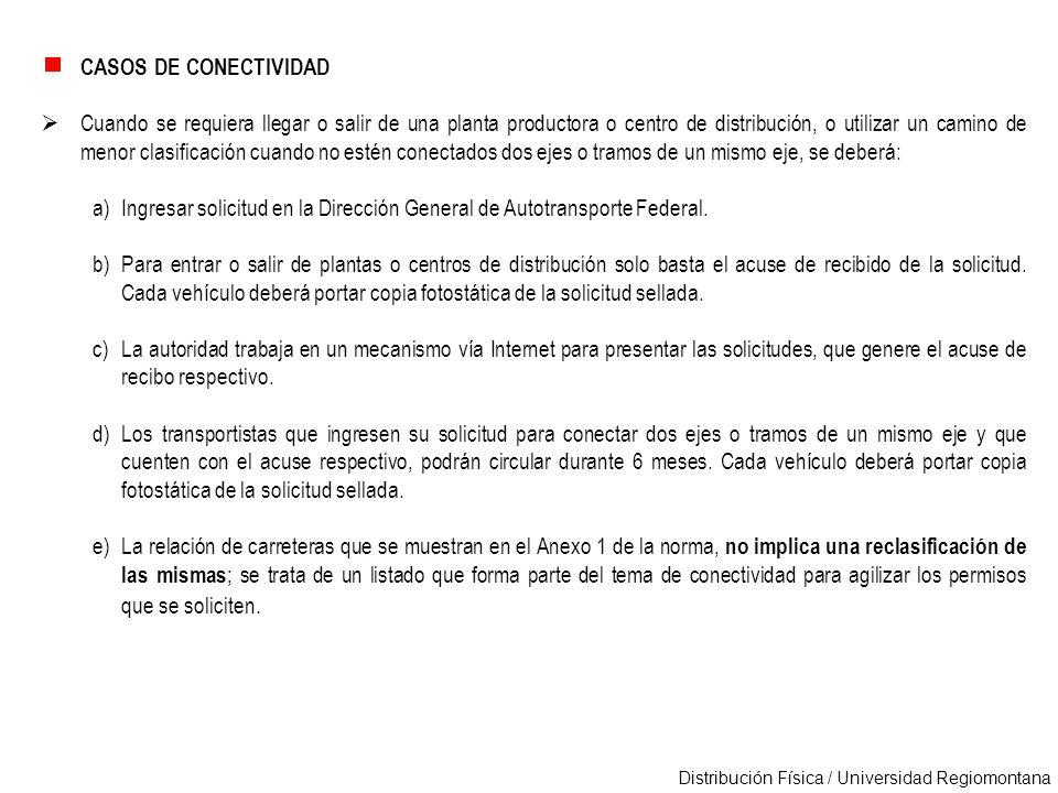 Distribución Física / Universidad Regiomontana CASOS DE CONECTIVIDAD Cuando se requiera llegar o salir de una planta productora o centro de distribuci
