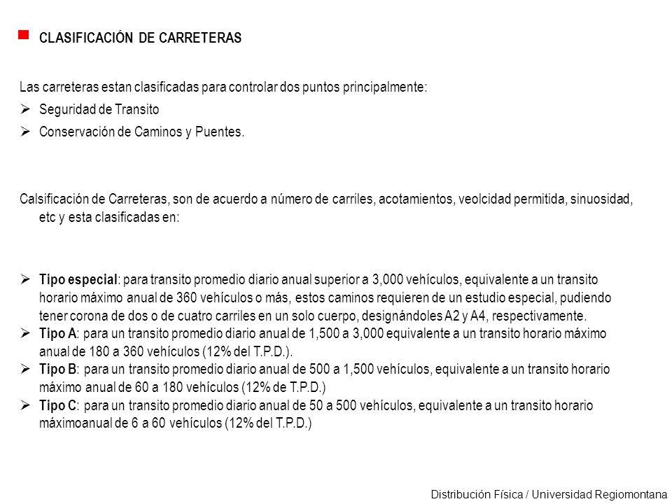 Distribución Física / Universidad Regiomontana CLASIFICACIÓN DE CARRETERAS Las carreteras estan clasificadas para controlar dos puntos principalmente: