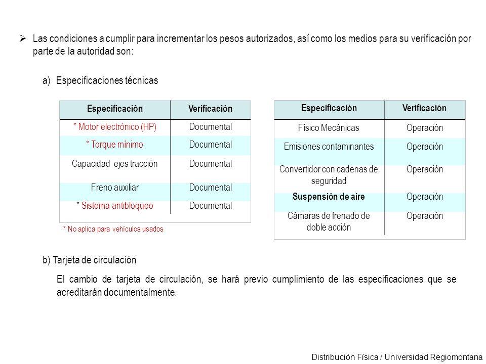 Distribución Física / Universidad Regiomontana Las condiciones a cumplir para incrementar los pesos autorizados, así como los medios para su verificac