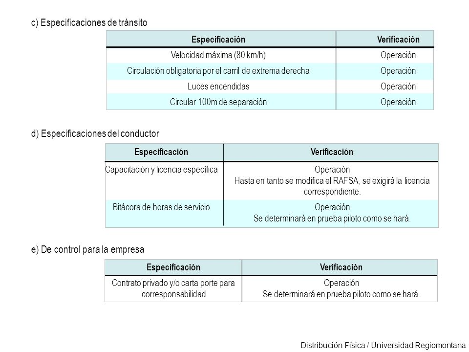 Distribución Física / Universidad Regiomontana EspecificaciónVerificación Velocidad máxima (80 km/h)Operación Circulación obligatoria por el carril de
