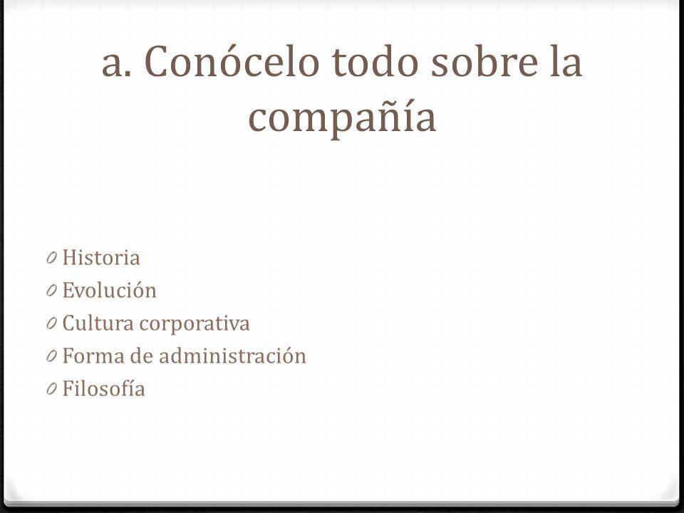 a. Conócelo todo sobre la compañía 0 Historia 0 Evolución 0 Cultura corporativa 0 Forma de administración 0 Filosofía