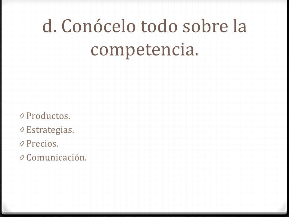 d. Conócelo todo sobre la competencia. 0 Productos. 0 Estrategias. 0 Precios. 0 Comunicación.