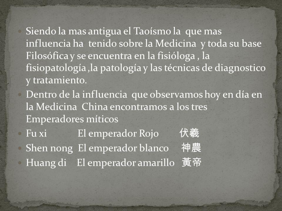 Siendo la mas antigua el Taoísmo la que mas influencia ha tenido sobre la Medicina y toda su base Filosófica y se encuentra en la fisióloga, la fisiop