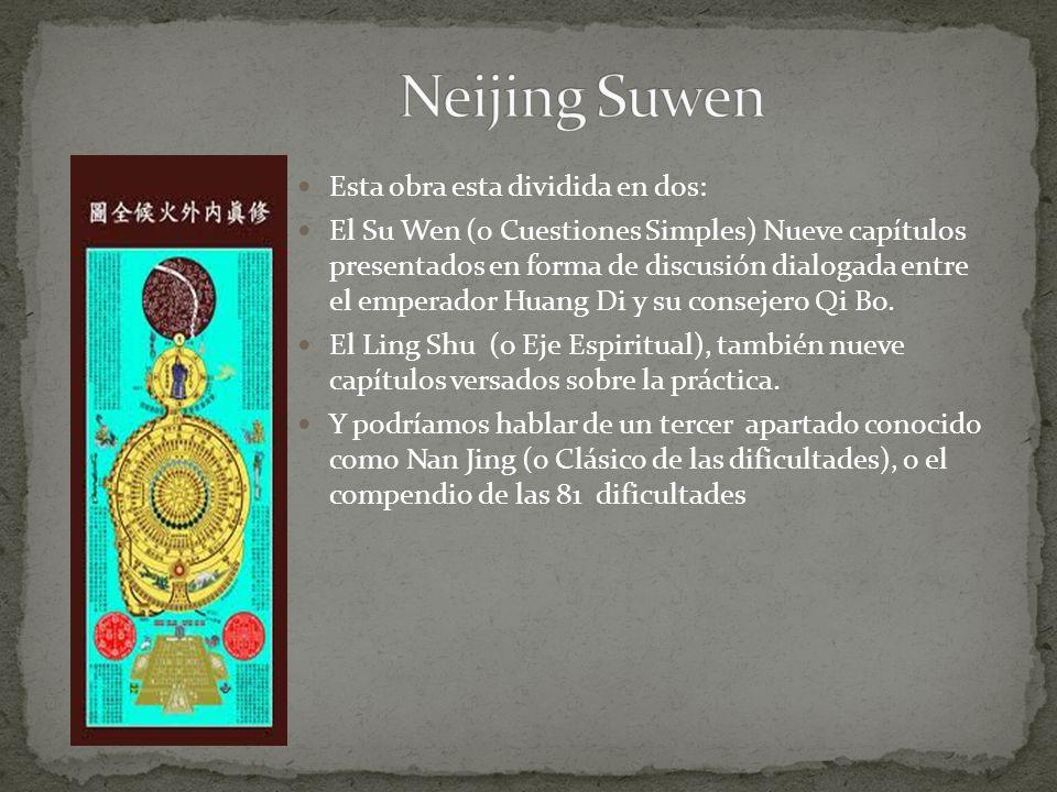 Esta obra esta dividida en dos: El Su Wen (o Cuestiones Simples) Nueve capítulos presentados en forma de discusión dialogada entre el emperador Huang