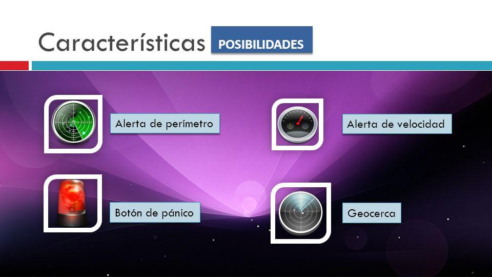 Características POSIBILIDADES Alerta de perímetro Alerta de velocidad Botón de pánico Geocerca