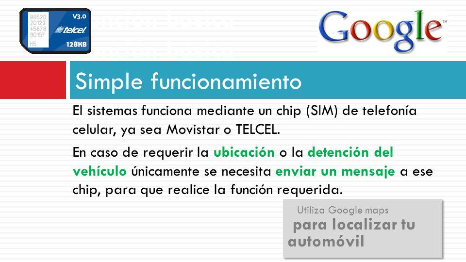 Función básica Función básica Simple funcionamiento El sistemas funciona mediante un chip (SIM) de telefonía celular, ya sea Movistar o TELCEL. En cas