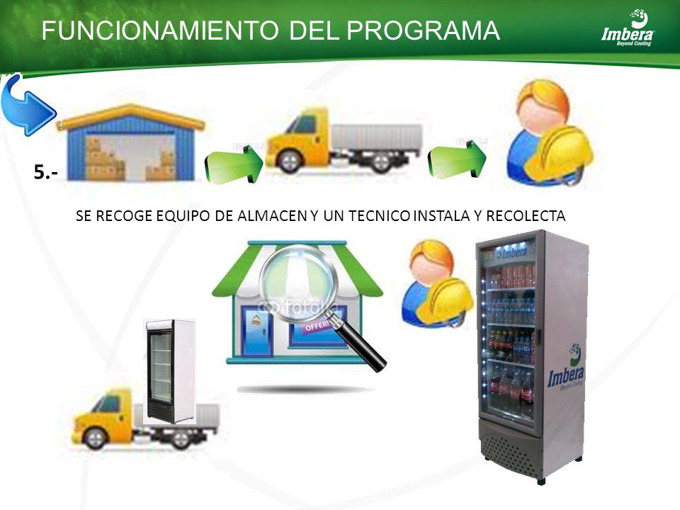 SE RECOGE EQUIPO DE ALMACEN Y UN TECNICO INSTALA Y RECOLECTA FUNCIONAMIENTO DEL PROGRAMA 5.-