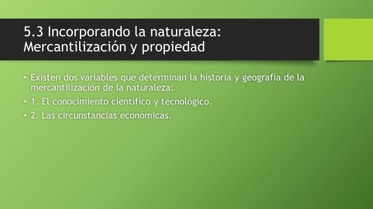 5.3 Incorporando la naturaleza: Mercantilización y propiedad Existen dos variables que determinan la historia y geografía de la mercantilización de la