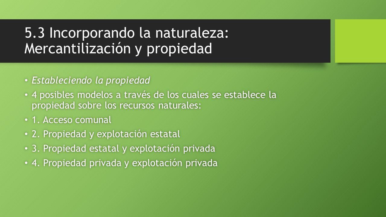 5.3 Incorporando la naturaleza: Mercantilización y propiedad Estableciendo la propiedad Estableciendo la propiedad 4 posibles modelos a través de los cuales se establece la propiedad sobre los recursos naturales: 4 posibles modelos a través de los cuales se establece la propiedad sobre los recursos naturales: 1.