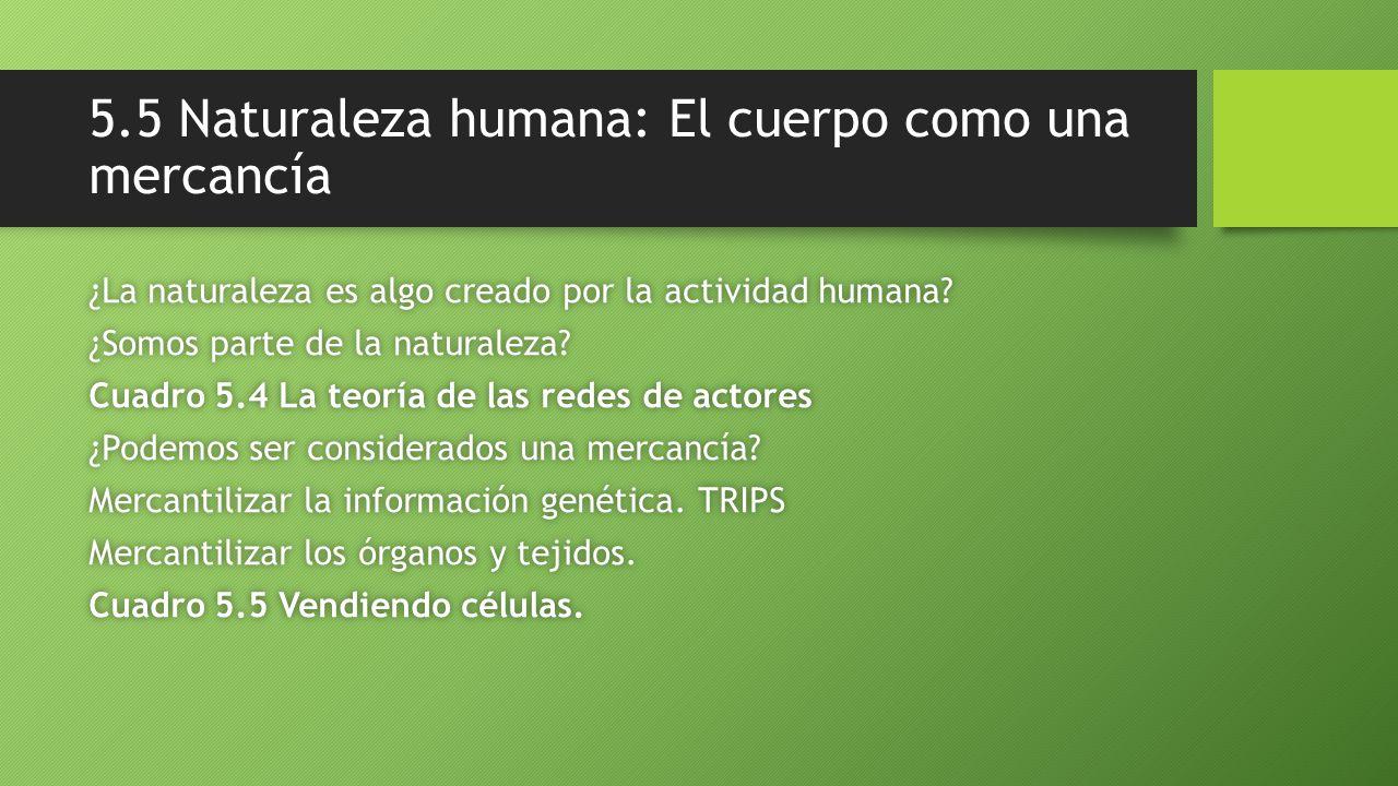 5.5 Naturaleza humana: El cuerpo como una mercancía ¿La naturaleza es algo creado por la actividad humana?¿La naturaleza es algo creado por la activid