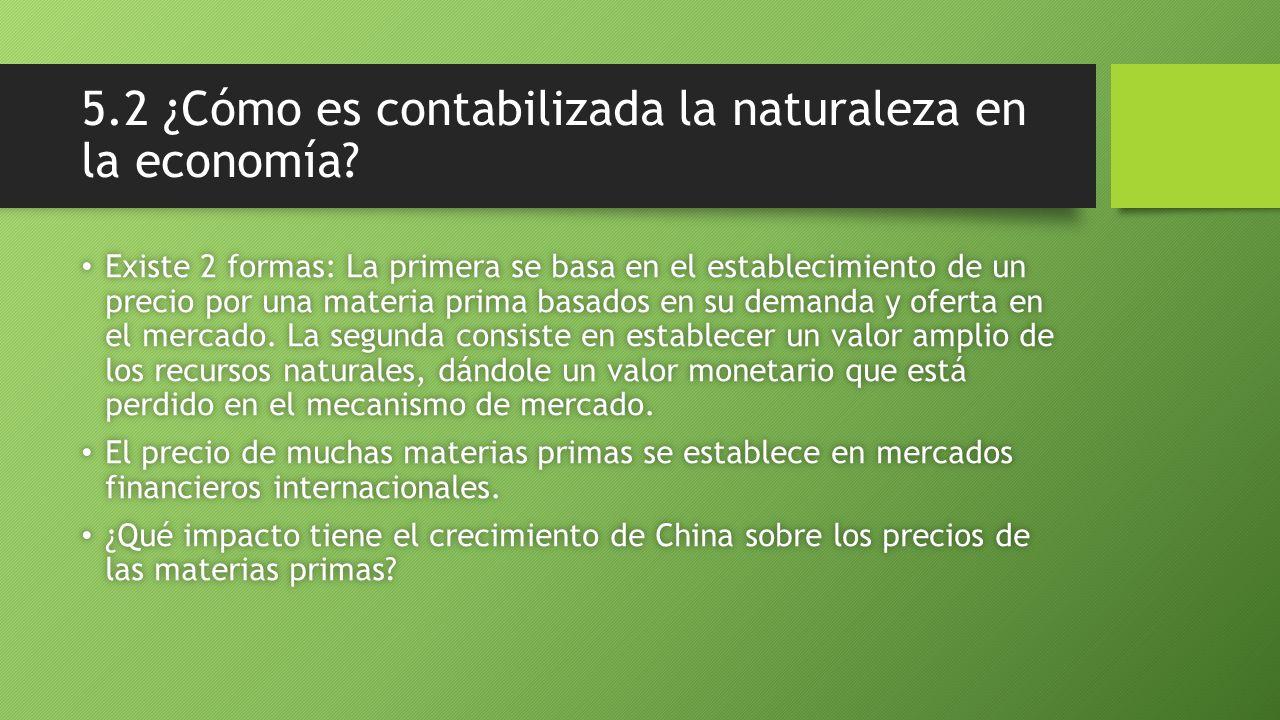 5.2 ¿Cómo es contabilizada la naturaleza en la economía? Existe 2 formas: La primera se basa en el establecimiento de un precio por una materia prima
