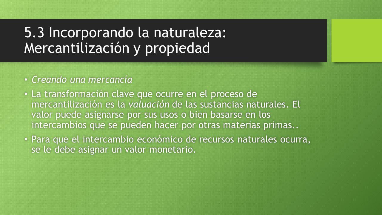 5.3 Incorporando la naturaleza: Mercantilización y propiedad Creando una mercancía Creando una mercancía La transformación clave que ocurre en el proceso de mercantilización es la valuación de las sustancias naturales.