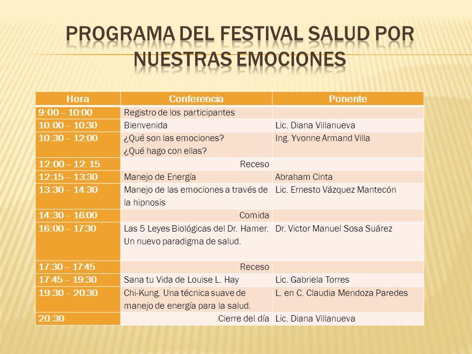 HoraConferenciaPonente 9:00 – 10:00Registro de los participantes 10:00 – 10:30BienvenidaLic.