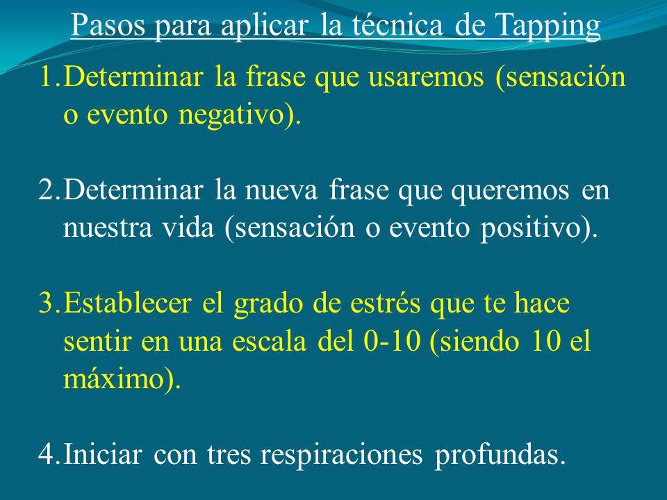 Pasos para aplicar la técnica de Tapping 1.Determinar la frase que usaremos (sensación o evento negativo).