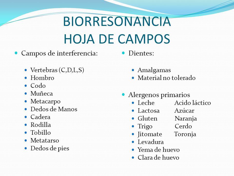 BIORRESONANCIA HOJA DE CAMPOS Campos de interferencia: Vertebras (C,D,L,S) Hombro Codo Muñeca Metacarpo Dedos de Manos Cadera Rodilla Tobillo Metatars