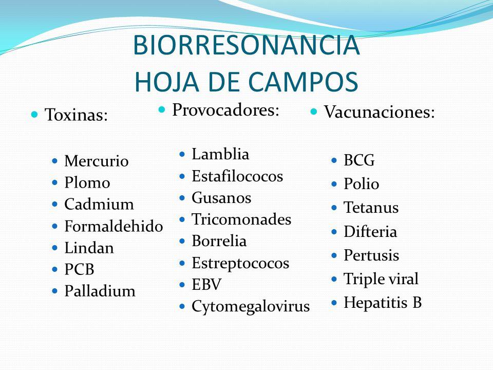 BIORRESONANCIA HOJA DE CAMPOS Toxinas: Mercurio Plomo Cadmium Formaldehido Lindan PCB Palladium Provocadores: Lamblia Estafilococos Gusanos Tricomonad