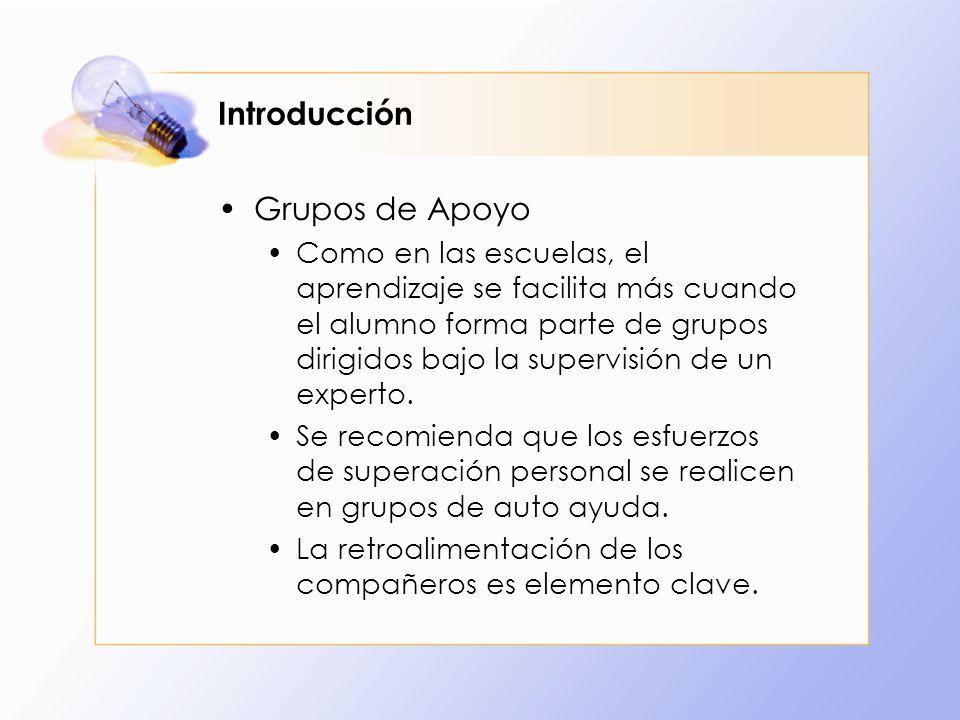 Introducción Grupos de Apoyo Como en las escuelas, el aprendizaje se facilita más cuando el alumno forma parte de grupos dirigidos bajo la supervisión