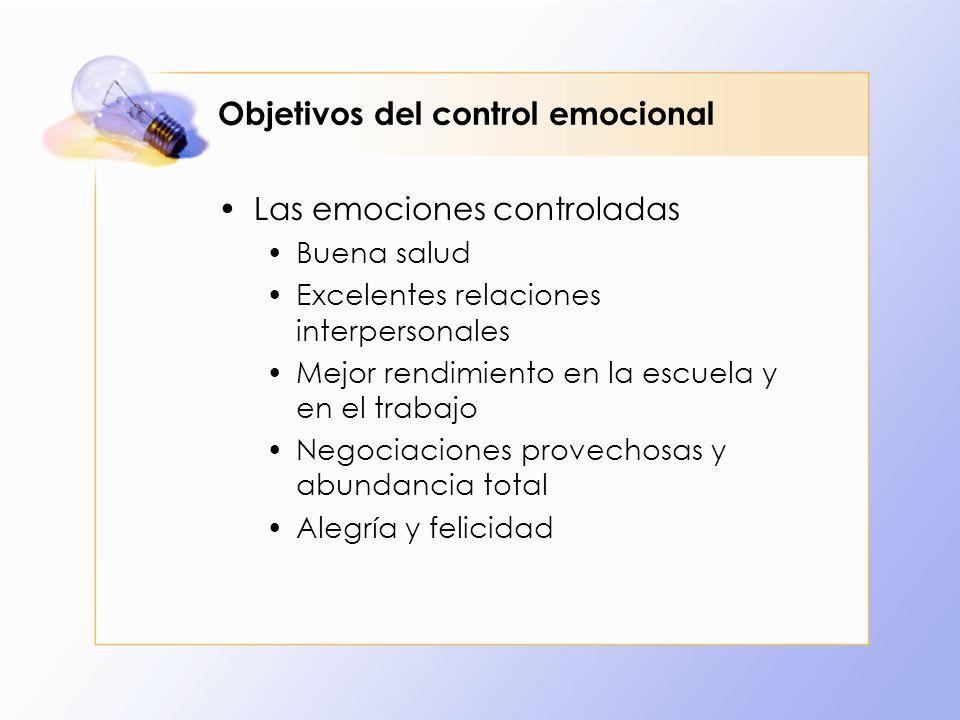 Objetivos del control emocional Las emociones controladas Buena salud Excelentes relaciones interpersonales Mejor rendimiento en la escuela y en el tr