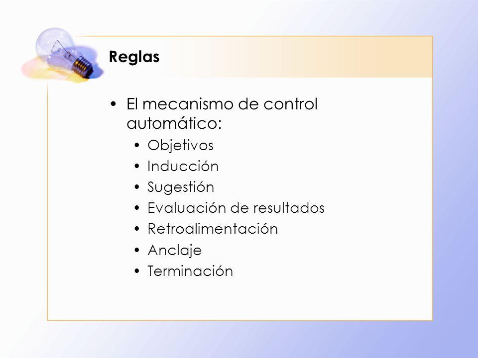 Reglas El mecanismo de control automático: Objetivos Inducción Sugestión Evaluación de resultados Retroalimentación Anclaje Terminación