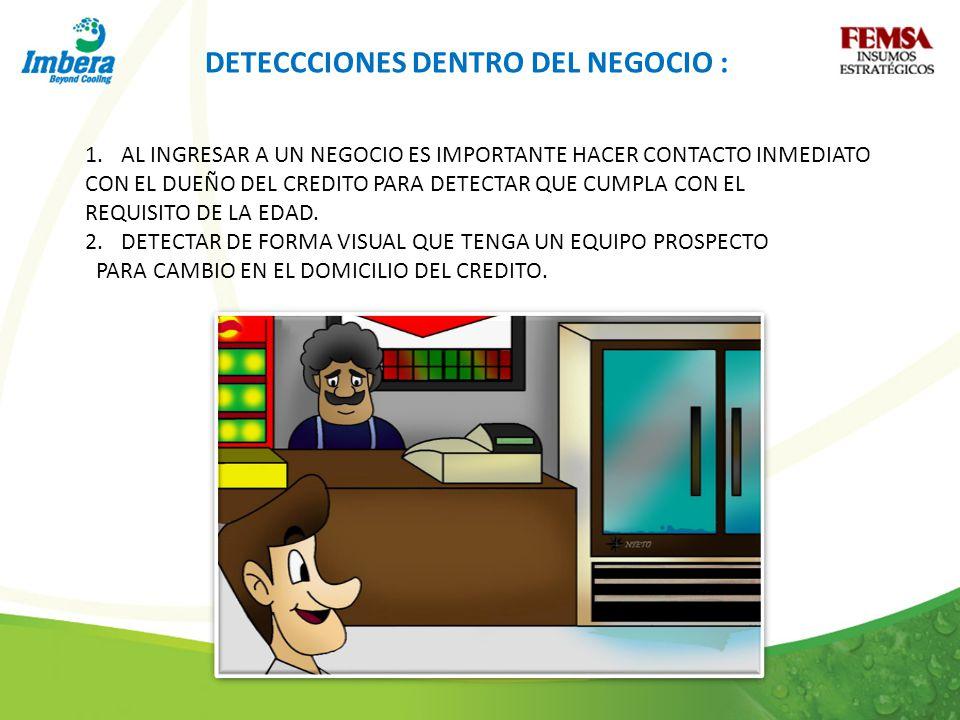 DETECCCIONES DENTRO DEL NEGOCIO : 1.AL INGRESAR A UN NEGOCIO ES IMPORTANTE HACER CONTACTO INMEDIATO CON EL DUEÑO DEL CREDITO PARA DETECTAR QUE CUMPLA