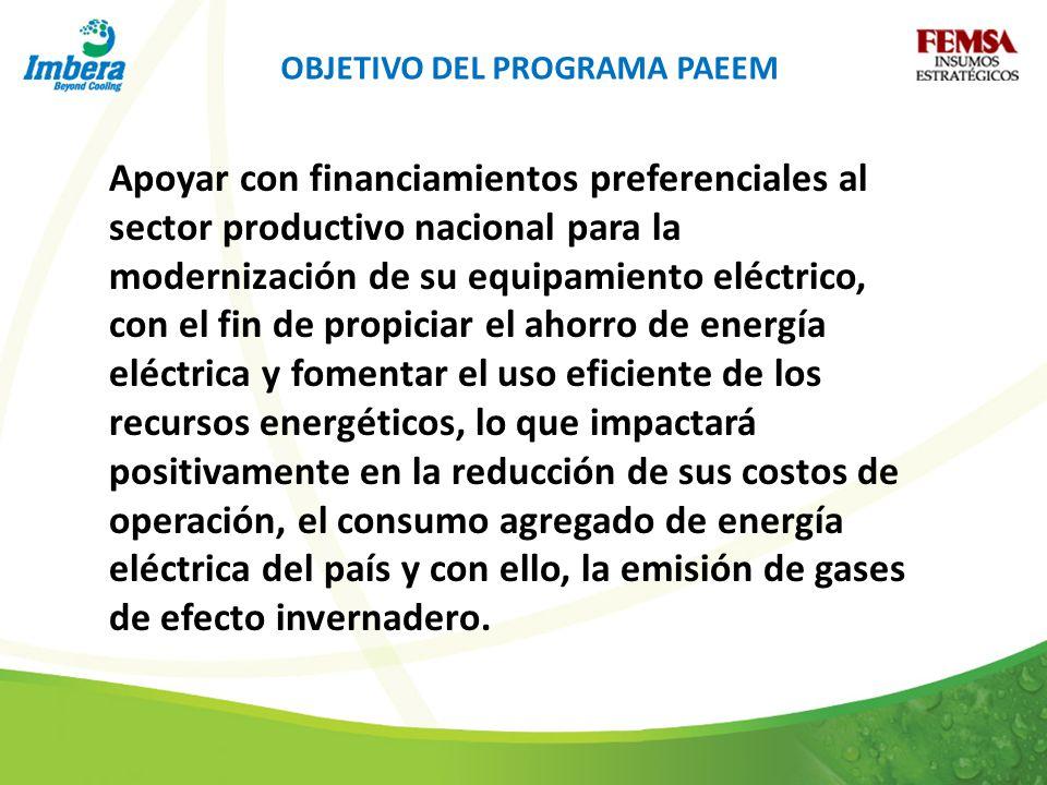 OBJETIVO DEL PROGRAMA PAEEM Apoyar con financiamientos preferenciales al sector productivo nacional para la modernización de su equipamiento eléctrico, con el fin de propiciar el ahorro de energía eléctrica y fomentar el uso eficiente de los recursos energéticos, lo que impactará positivamente en la reducción de sus costos de operación, el consumo agregado de energía eléctrica del país y con ello, la emisión de gases de efecto invernadero.