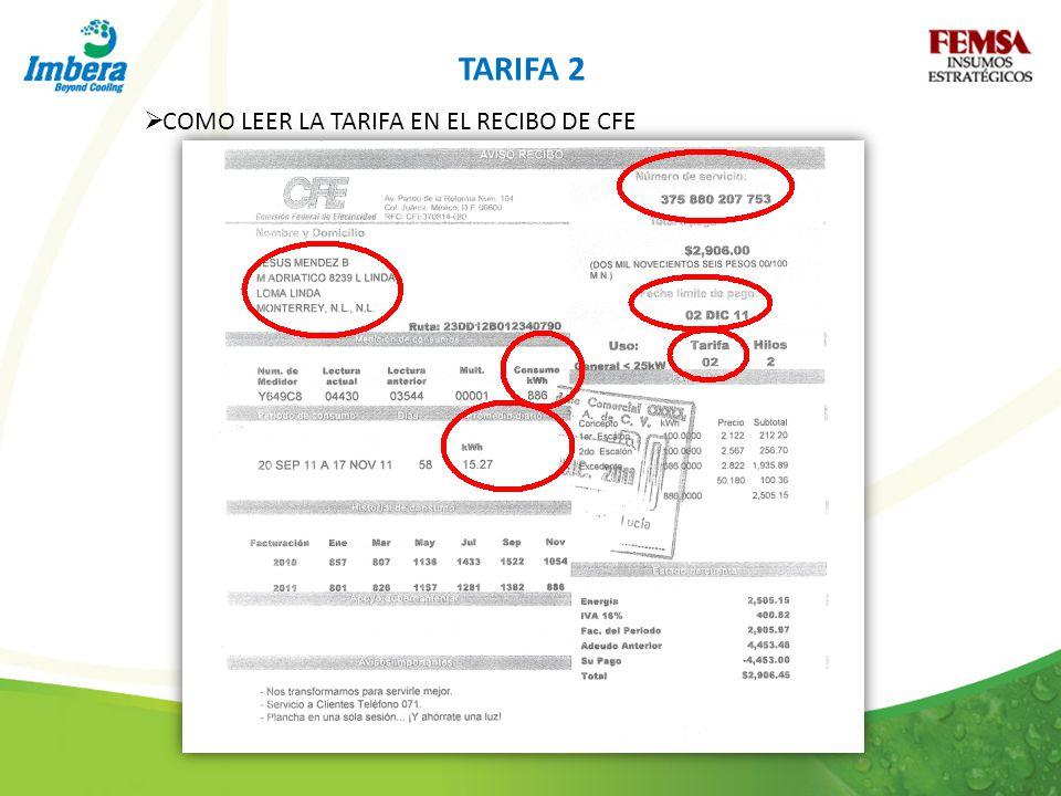 TARIFA 2 COMO LEER LA TARIFA EN EL RECIBO DE CFE