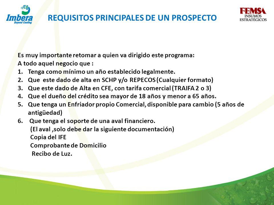 REQUISITOS PRINCIPALES DE UN PROSPECTO Es muy importante retomar a quien va dirigido este programa: A todo aquel negocio que : 1.Tenga como mínimo un