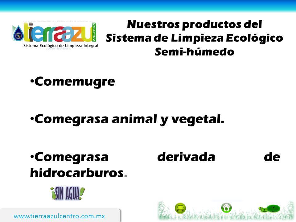 Nuestros productos del Sistema de Limpieza Ecológico Semi-húmedo Comemugre Comegrasa animal y vegetal. Comegrasa derivada de hidrocarburos.