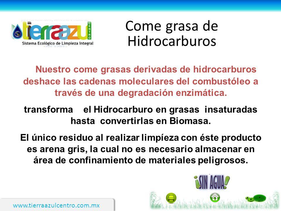 www.tierraazulcentro.com.mx Come grasa de Hidrocarburos Nuestro come grasas derivadas de hidrocarburos deshace las cadenas moleculares del combustóleo