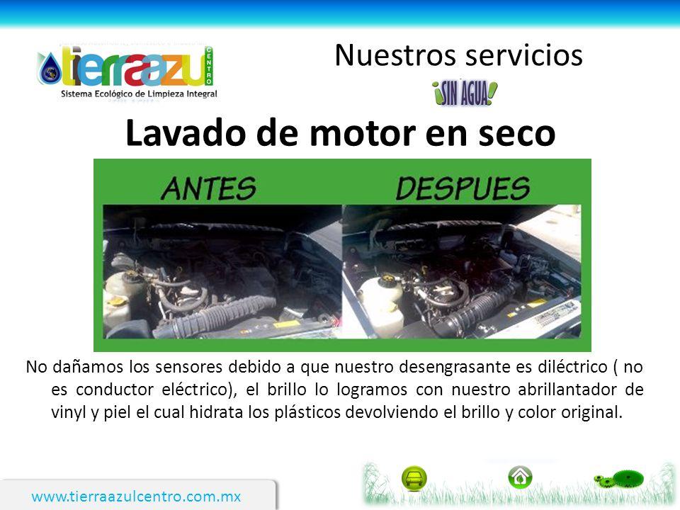 www.tierraazulcentro.com.mx Nuestros servicios Lavado de motor en seco No dañamos los sensores debido a que nuestro desengrasante es diléctrico ( no e