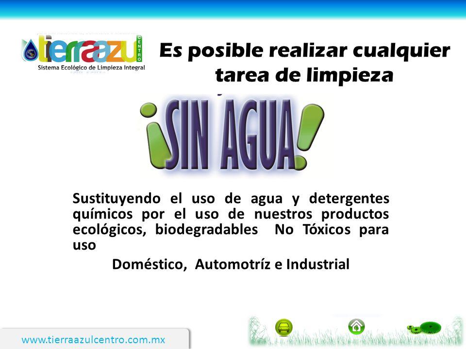 www.tierraazulcentro.com.mx Es posible realizar cualquier tarea de limpieza Sustituyendo el uso de agua y detergentes químicos por el uso de nuestros